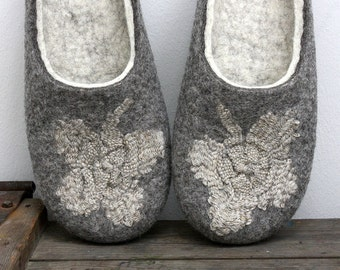Clover for Cinderella ' felted wool slippers with hand weaving linen flowers are MADE TO ORDER