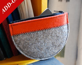 """Wool Felt Coin Purse - 5.5"""" x 4"""", Multiple Color Options Available, Add-On Item, Change Purse, Coin Bag, Change Bag"""