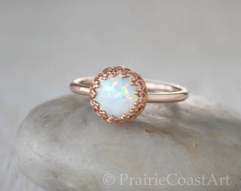 Rose Gold Opal Ring in 14k Rose Gold-Filled - Opal Stacking Ring - Handcrafted Artisan Rose Gold Ring