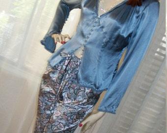 1920s 1930s Style Silk and Satin Lounging Pajamas Size Med Paisley Drawstring High Waist