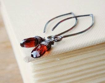 Garnet Gemstone Sterling Silver Dangle Earrings . January Birthstone Red Garnet Gems on Oxidized Sterling Silver Earrings . Wire Wrapped Gem