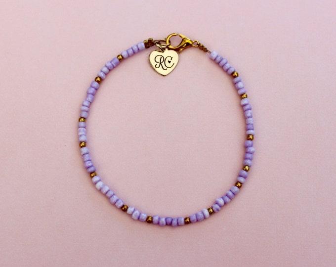 Lavender Seed Bead Bracelet.