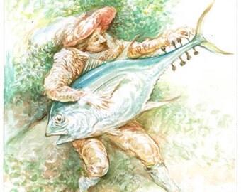 Troubador Tuning His Tuna - watercolor painting