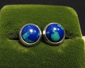 Vintage Native American Sterling Silver Round Blue Azurite Malachite Stud Post Pierced Earrings