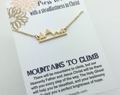 Press Forward -2016 Mutual theme - Mountain Necklace - Silver or Gold Bar Mountain Necklace - New Beginnings Girls Camp YW Birthday gift