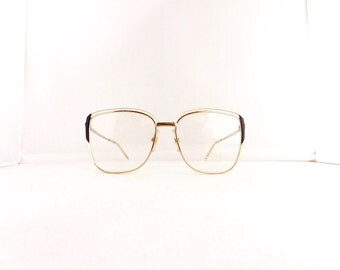 80's Cara Design  Eyeglasses Frames Women's Vintage 1980's Gold White Black Frames Made in Italy #M559 DIVINE