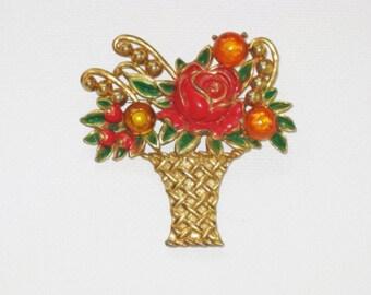 Antique Vintage Enameled Pot Metal Floral Basket Brooch Pin (B-3-3)
