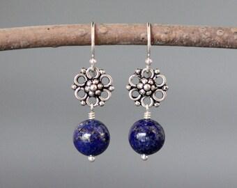 Lapis Earrings - Bali Silver Earrings - Blue Lapis Earrings - Lapis Lazuli Earrings - Silver Wire Wrapped Earrings - Everyday Jewelry - Gift