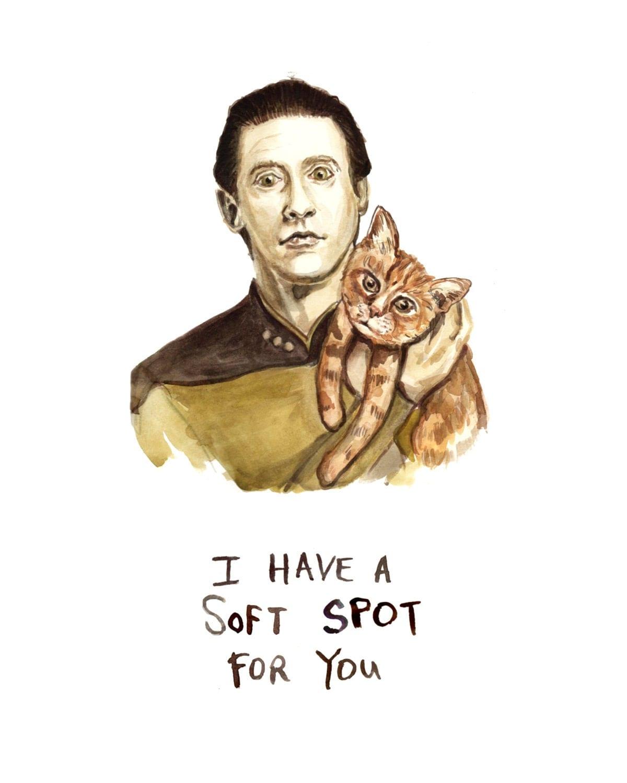 Star Trek Bathroom Accessories Star Trek Data Illustration Data And His Cat Spot Drawing