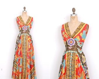 Vintage 1970s Dress / 70s Floral Print Cotton Maxi Dress / Orange and Black (XS extra small)