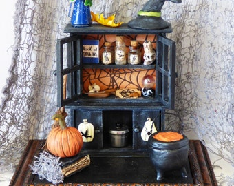 Miniature Witch's Cabinet - Gothic Miniatures Diorama - Miniature Art - Halloween Art - Miniature Witch Cupboard