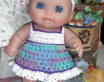 PDF PATTERN Crochet 8 8.5 inch LTL Lil Cutesies Berenguer Doll Sundress Square neck Headband Maryjane Blue Purple