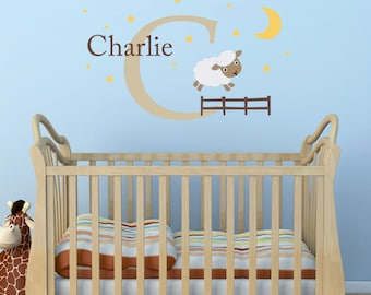 Jumping Sheep, Initial & Name Decal Set - Nursery Wall Decal - Moon and Stars - Sheep Wall Sticker - Large