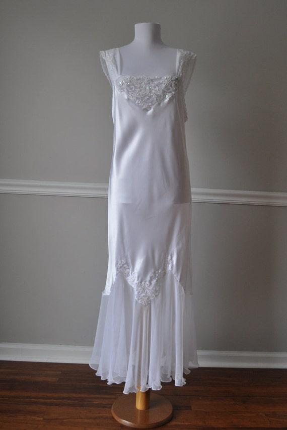 Full slip bridal white silky satin chiffon nightgown for White silk slip wedding dress
