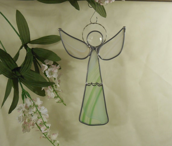 117 Angel Blue Christmas Ornament Baptism Shower: Angel SuncatcherGreen And White Stained Glass Angel