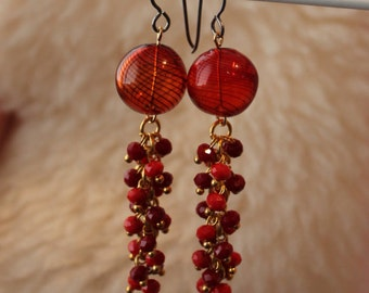 Hypoallergenic Earrings - Red Crystal Fire - Surgical Steel Earrings, Titanium Earrings, OR Niobium Earrings for Sensitive Ears