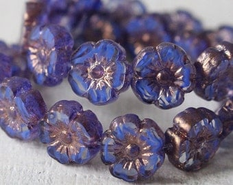 9mm Glass Flower Beads - Hawaiian Flower Beads - Pansy Flower Beads - Sapphire Blue Stripe - Choose Amount