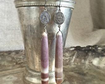 holy sea earrings - vintage rosary connectors sea urchin shells virgin mary sacred heart long dangle drop boho bohemian gypsy tribal