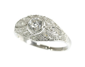 Original Art Deco Ring Diamond Platinum 1920s Old European Cut Diamonds Engagement Ring