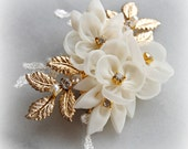 Delicate Ivory and Gold Wedding Hair Flowers, Wedding Hair Clip with Crystals, Silver, Rose Gold or Gold - SUMMER