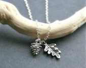Silver Acorn Necklace, Oak Leaf Necklace. Acorn Jewelry. Sterling Silver. Gift