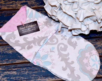 Baby Doll Swaddle ~ Pink, Blue & Gray Damask ~ Little Mommy