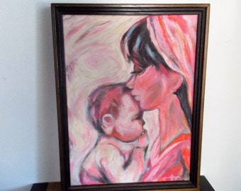 Vintage Framed Original Painting Mother and Baby