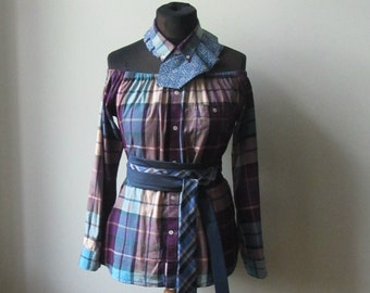 Off Shoulder Top, 90s Grunge Clothing, Upcycled Clothing, Boyfriend Plaid Shirt, Off Shoulder Shirt, Oversized Shirt, Womens Grunge Shirt