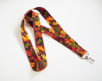 Fall Leaves Lanyard, Fall Leaf Lanyard, Autumn Lanyard, Fall ID Badge Holder, Fall Key Holder