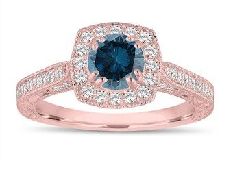 Fancy Blue Diamond Wedding Ring, Engagement Ring 1.16 Carat 14K Rose Gold Vintage Antique Style Hand Engraved Halo Pave