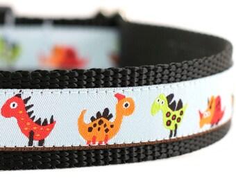 "Dinosaur Collar - Dino Collar - Prehistoric Dog Collar - 3/4 or 1"" Wide"