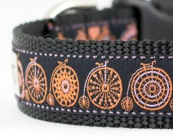 """Bicycle Dog Collar - Circus Bicycle Collar - Bicycle Collar - Bicycle Circus Collar - 1"""" or 3/4"""" Wide"""