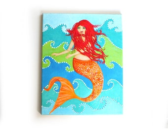 "Dancing Mermaid, 11""x14"" acrylic painting on gallery wrapped canvas"