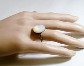White Mother of Pearl MOP Ovan Cabochon Antiqued Brass Adjustable Ring