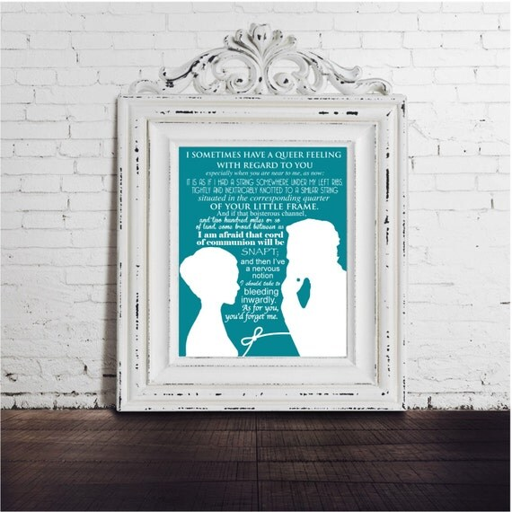 Jane Eyre and Rochester DIGITAL DOWNLOAD Art Print, Charlotte Bronte Quote, Classic Novel, Housewarming Gift, Literature Lover, blue white