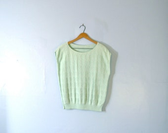 Vintage 80's pastel mint green sleeveless sweater vest, size medium