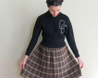 Vintage 1950s Plaid Skirt Alex Colman in Brown / 50s A Line Pleated Skirt / Small