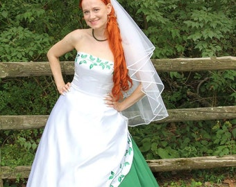 Stunning White and Green Wedding Dress with Ivy Embroidery