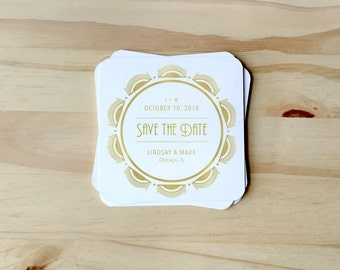 "Gold Coaster Save the Dates, ""Gatsby"", CUSTOMIZABLE for Rehearsal Dinners, Housewarming Gift; paper coasters SET OF 25, includes envelopes"