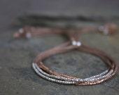 Tiny beaded friendship bracelet, silk cord beaded bracelet, rose gold beaded bracelet, simple gold bracelet, pure silver beaded bracelet