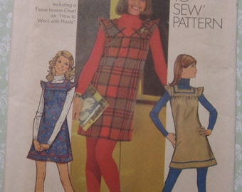 How to Sew Young Junior/Teen Girls Mini-Jumper Size 11/12 Bust 32 Vintage 1970s UNCUT Simplicity Pattern 5154