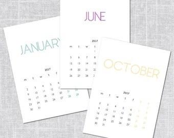 2017 Printable Calendar, Modern Typography, Instant Download, 5 x 7