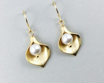 Gold Flower Earrings With Gold Cala Lily And White Swarovski Crystal Pearls