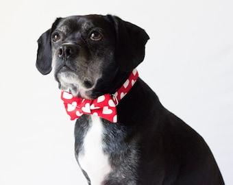 Red Heart Dog Bowtie Collar