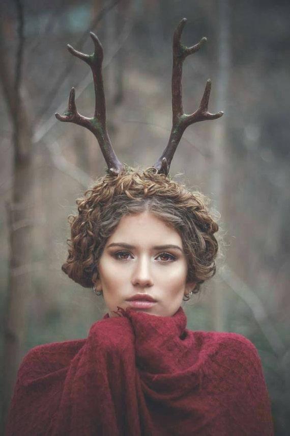 Deer antlers headband Satyr horns Horn Headband, Burning man, Festival, moss crown, nature Crown, faun headpiece,Faux Antler