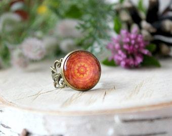 Orange Mandala Ring, Adjustable Ring, Antique Bronze Ring, Glass Dome Ring