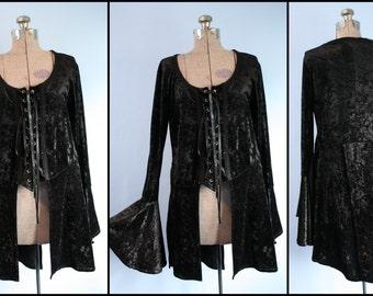 90s Trad Goth Vintage Black Crushed Velvet Bell Sleeve Top Womens Size XL Vintage Lip Service