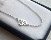 14k Gold Sideways Om Necklace - 14k Solid Gold Yoga Jewelry. White Gold, Rose Gold & Yellow Gold. Gift Ideas for Her