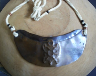 Copper GORGET Native American Indian Handmade TURTLE Punched Copper Indian Tanned SMOKED Deer Hide Venetian Trade Beads