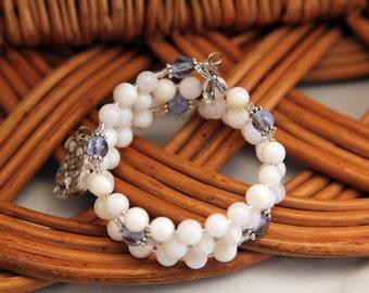 Holy Family Rosary Bracelet, Pearl Shell and Czechoslovakian Druk beads